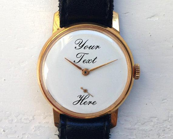 engraved Mens watch for groom bestman wedding anniversary