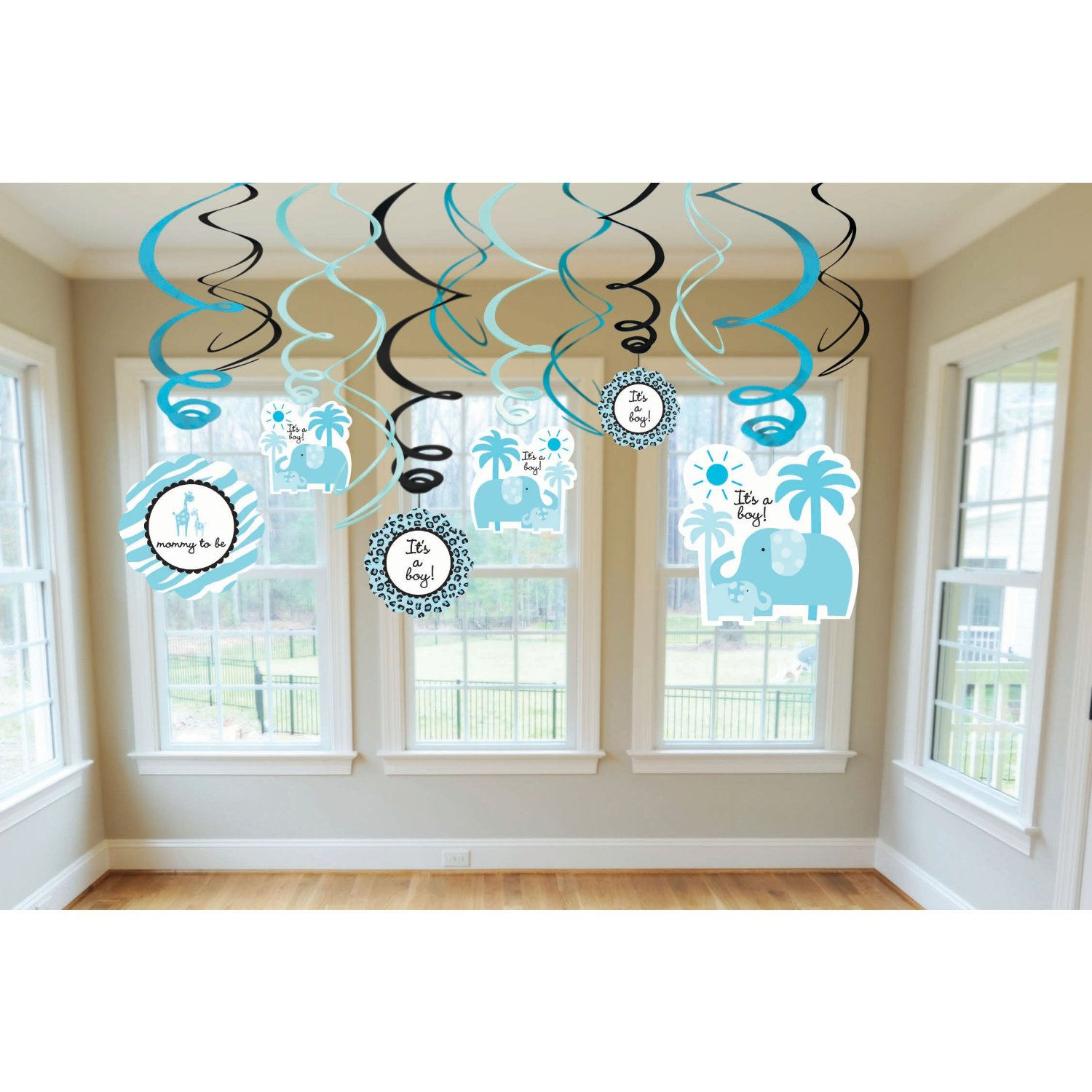 Indian baby shower decoration ideas and checklist sweet safari boy baby shower hanging swirls amipublicfo Gallery