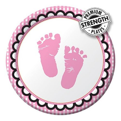 pink tiny feet paper plate for baby shower